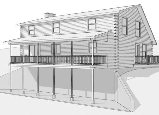 Log Home Plan #14228
