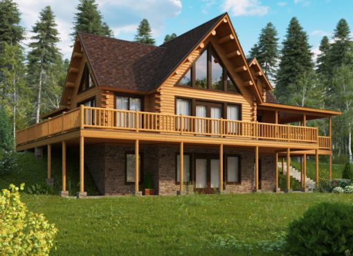 Log Home Plan #14271