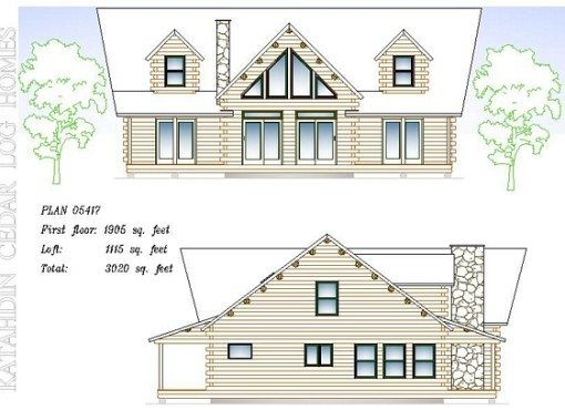 Log Home Plan #05417