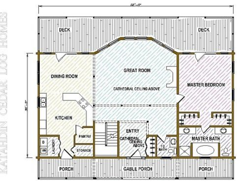 Log Home Plan #05443