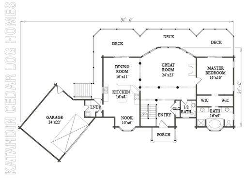 Log Home Plan #06608