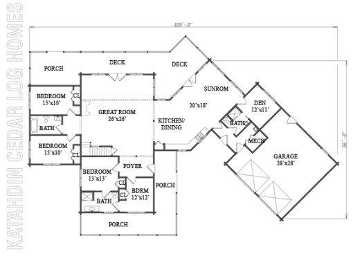 Log Home Plan #07777