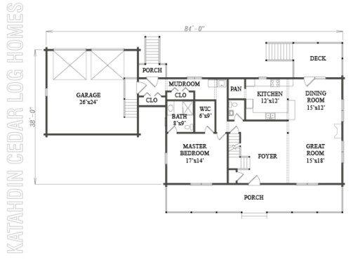 Log Home Plan #08833