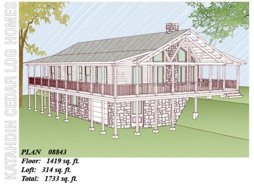 Log Home Plan #08843