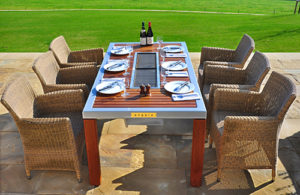 Social grilling tables by iBBQ take enetertaining in your Katahdin Cedar Log Home to a new level.