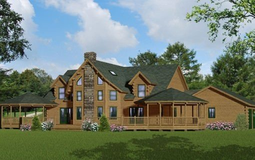 Custom log home floor plans katahdin design portfolio for 5 bedroom log home floor plans
