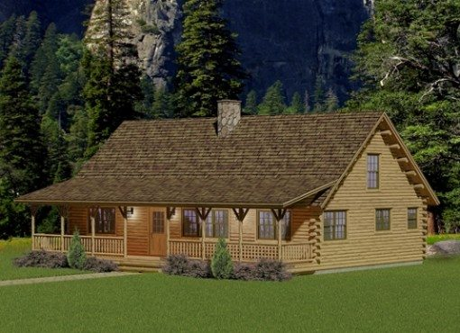 Custom log home floor plans katahdin design portfolio for Two bedroom log cabin plans