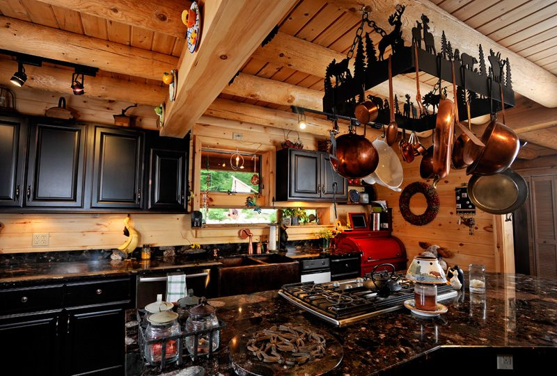 Kitchen Cabinets in Log Homes - Katahdin Cedar Log Homes