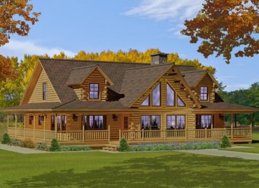 Custom log home floor plans katahdin log homes for 2 story log cabin floor plans