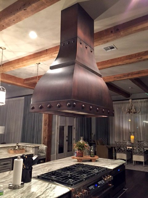 log home kitchen design idea copper hood