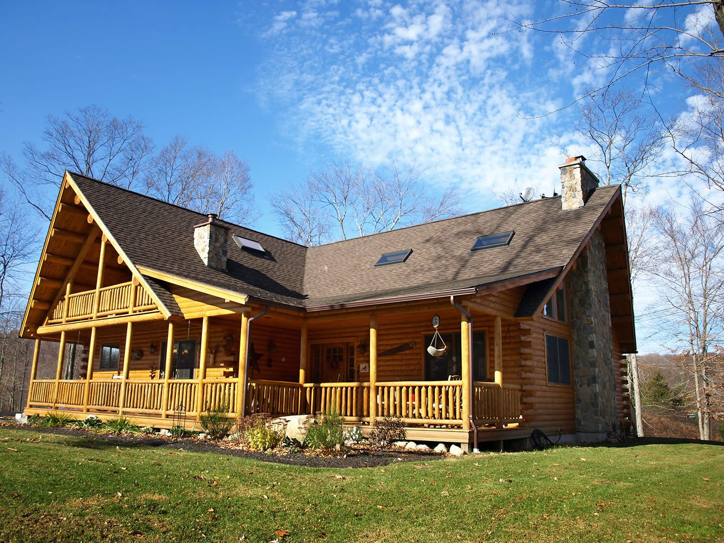 Buechel 06595 katahdin cedar log homes for Three story log cabin