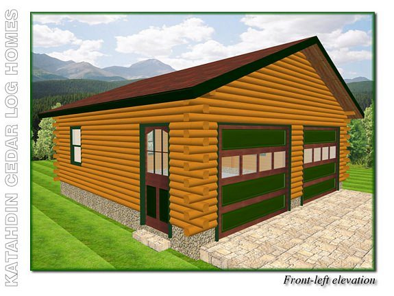 Front Elevation Plan And Side Elevation : Garage b katahdin cedar log homes floor plans