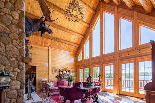 Victorian great room in Katahdin Cedar Log Home