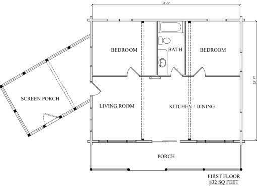 Log Home Plan #01890