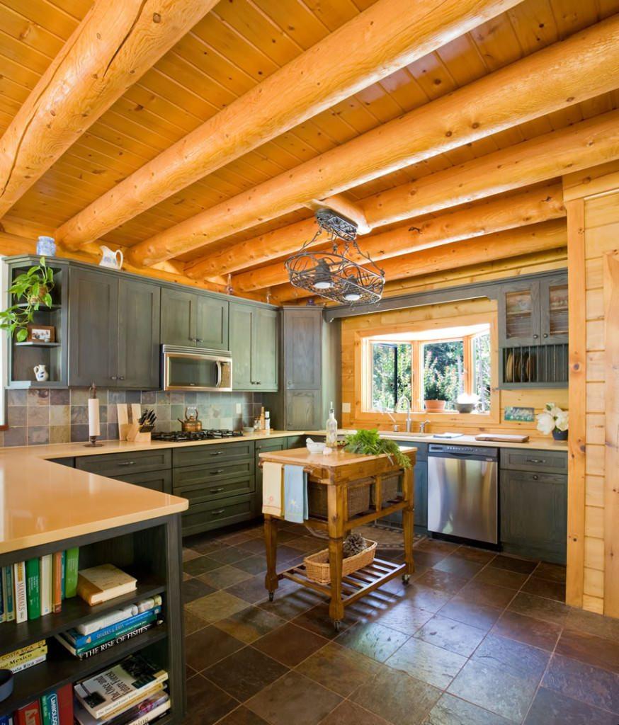 Knoty Pine Kitchen Cabinets: Katahdin Cedar Log Homes