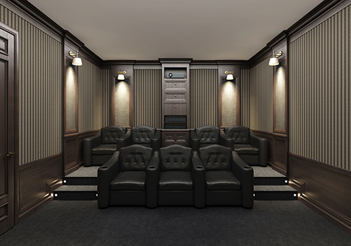 Luxury home theater with dimmable lighting