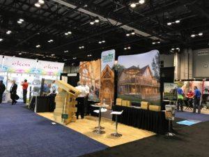 Katahdin Cedar log homes tradeshow floor