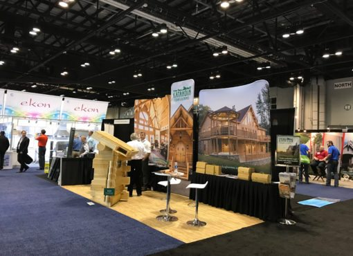 Katahdin Cedar log homes tradeshow floor