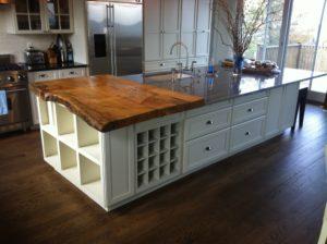 wood slab countertop log home design idea
