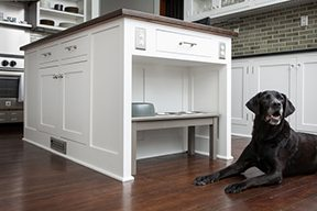 island alcove with black dog
