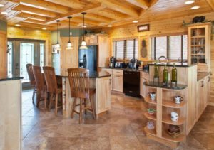 Kitchen interior for custom log home