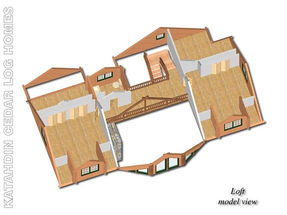 Lakeview Cedar Log Home Floor Plan - Katahdin House Plans