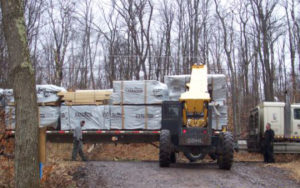 log delivery day Katahdin Cedar Log Homes