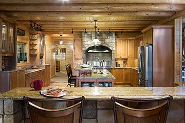 log home kitchen lighting