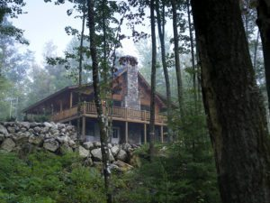 log home chimney style