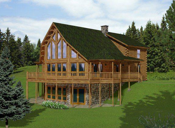 Katahdin cedar log homes overlook cabin addition ideas for Log cabin additions ideas