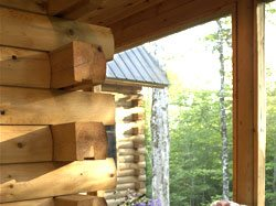 cedar log home porch