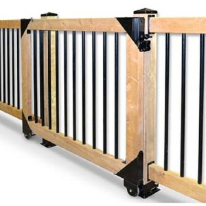 This nifty sliding gate hardware helps to secure your Katahind Cedar Log Home deck.