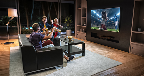 home theater for sports viewing in a Katahdin Cedar Log Home
