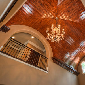 wood tongue & groove groin vault adds a finishing touch to a Katahdin Cedar Log Home